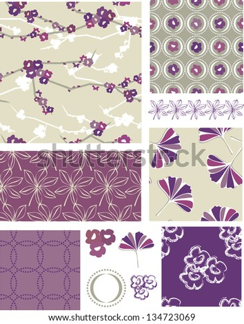 Purple Blossom Floral Vector Seamless Patterns. Use as fills, digital paper, or print off onto fabric to create unique items.