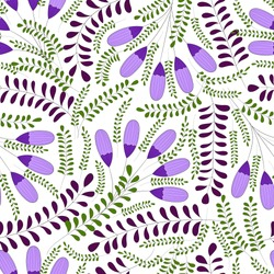 Purple blossoms, green leaves and floral branches on the white background. Vector seamless pattern.