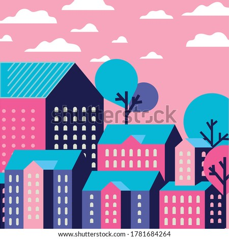 Purple blue and pink city buildings landscape with clouds and trees design, Abstract geometric architecture and urban theme illustration