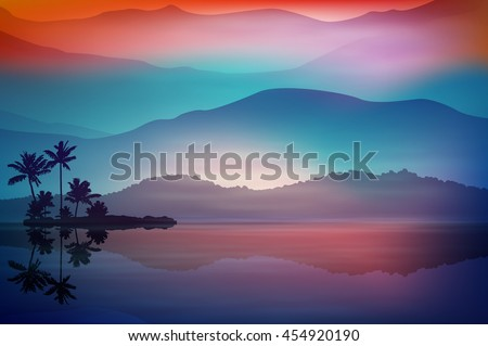 purple blue background with sea