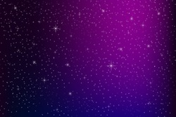 Purple blue galaxy. Sky with stars. Night space. Ethereal space background. Vector illustration.