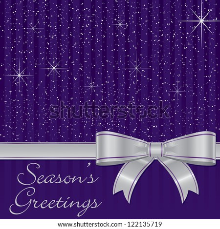 Purple bow and stars Christmas card in vector format.