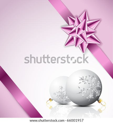 Purple  bow on a ribbon with white and blue background - vector Christmas card