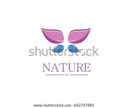 purple butterfly logo, nature logo