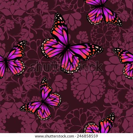 purple butterfly on a dark