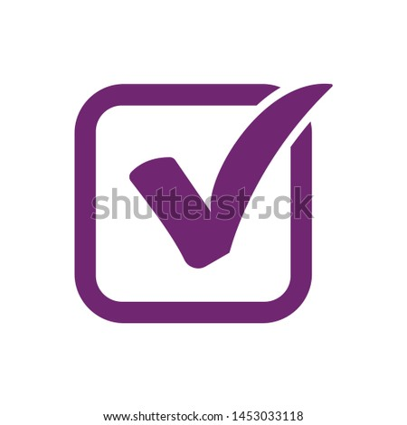 Purple check mark icon in ...x. vector illustration