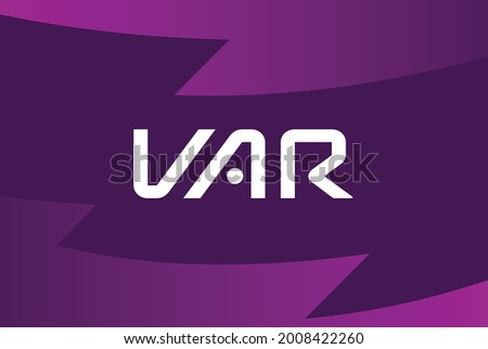 purple colour VAR logo background premiere league competition concept design banner poster vector template for match day big match top famous popular soccer football club team in the world