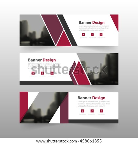Purple corporate business banner template, horizontal advertising business banner layout template flat design set #458061355