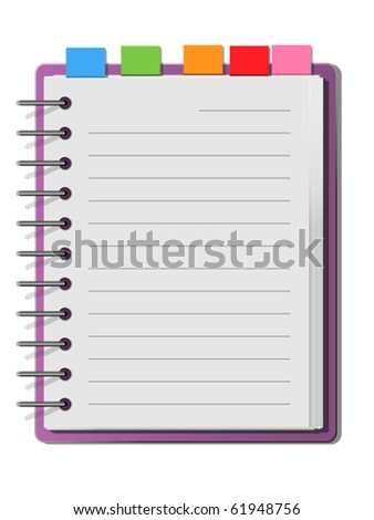 purple cover blank white note book - stock vector