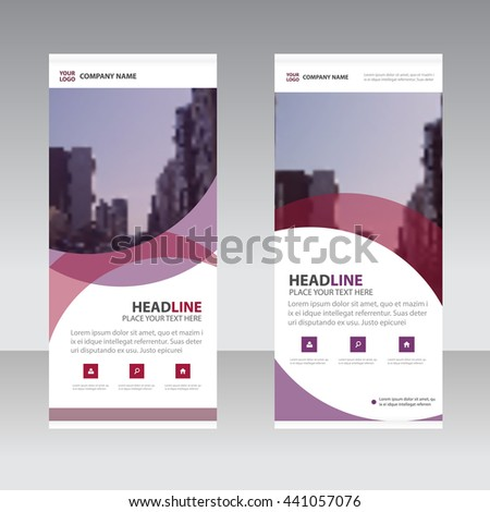 Purple curve square Business Roll Up Banner flat design template ,Abstract Geometric banner template Vector illustration set, abstract presentation template