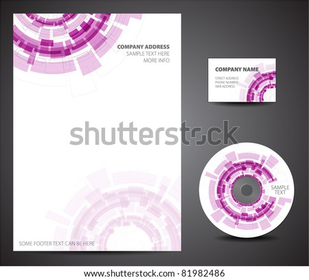 Purple Design template set - business card, cd, paper