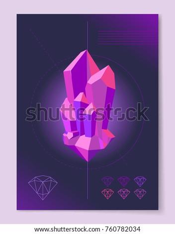 purple diamond 3d shape on