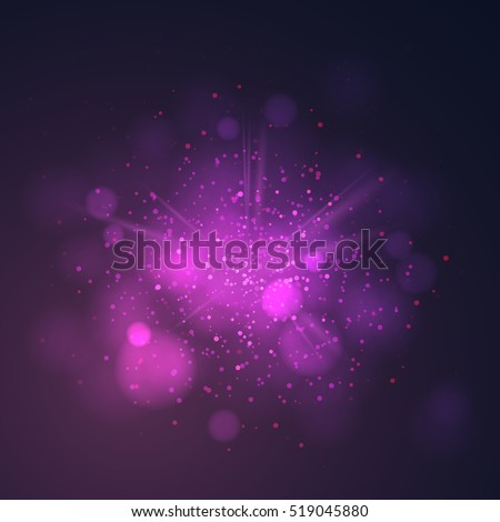 Purple dust vector firework explosion. Abstract Holiday Light Rays. Vector Illustration.