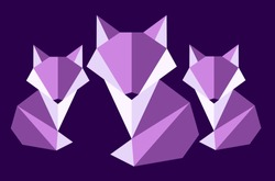 Purple family Fox. Polygon style fox. Origami Fox, animal. Mosaic style.