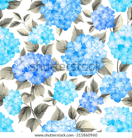 Purple flower hydrangea on seamless background. Mop head hydrangea flower pattern. Beautiful blue flowers. Vector illustration.