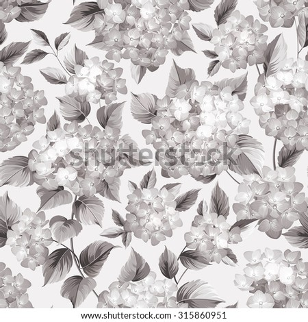 Purple flower hydrangea on seamless background. Mop head hydrangea flower pattern. Beautiful sepia flowers. Vector illustration.