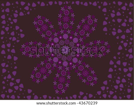 Purple flower made of flowers on a deep purple background with lilac petals