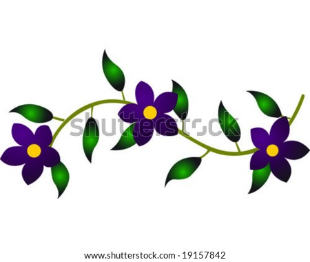 Purple Flower Vine Vector Illustration - 19157842 : Shutterstock