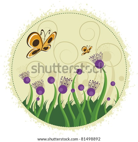 Purple flowers and butterflies. Several branches with purple flowers and even butterflies.