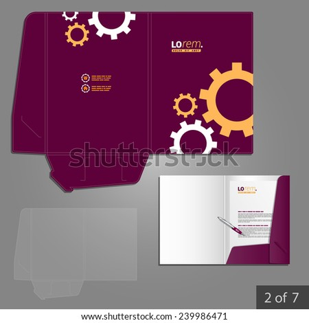 Purple folder template design for company with mechanism. Element of stationery.