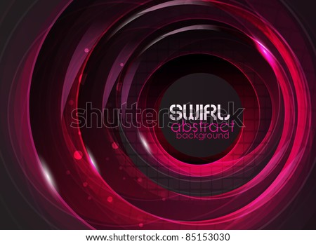 Purple glass round shapes on black. Abstract background