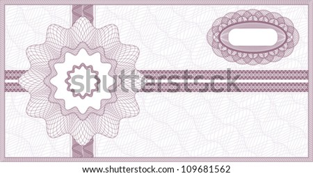 Purple guilloche background for voucher, coupon, banknote