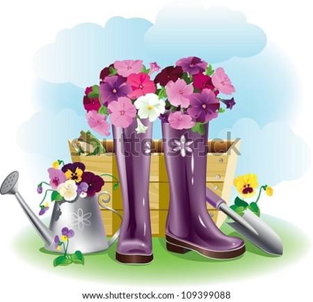 Purple gumboots. Purple gumboots with flowers and garden tools.