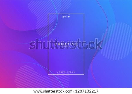 PURPLE, 2019, Happy new year. 2019 new year background celebration. Fluid shape, wavy, dynamic background, gradient color, flowing shapes. Usable for landing page. Trendy and modern background color. #1287132217