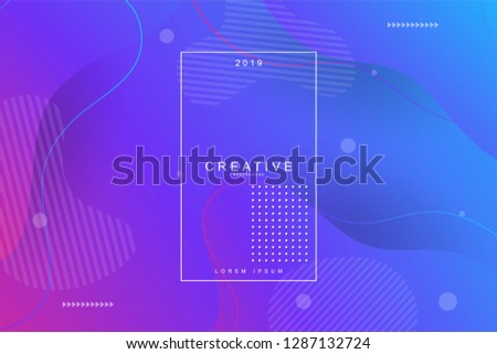 PURPLE, 2019, Happy new year. 2019 new year background celebration. Fluid shape, wavy, dynamic background, gradient color, flowing shapes. Usable for landing page. Trendy and modern background color. #1287132724