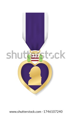 Purple Heart Day poster design, banner, USA greeting card. Badge of Military Merit isolated on white background. Golden medal with Purple Heart and ribbon. Holiday United States veteran. Vector