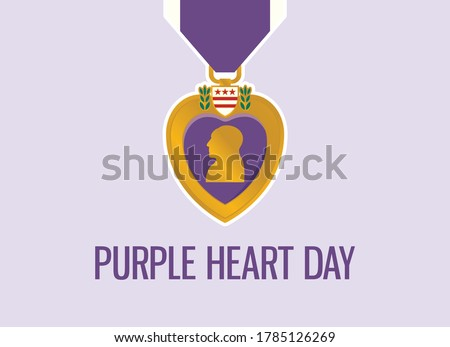 Purple Heart Day vector. Purple Heart medal icon vector. United States military decoration illustration. Important day