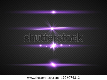 Purple horizontal lens flares pack. Glowing purple, pink light effects isolated on transparent background. Laser beams, light rays. Set of abstract lens flares, glowing stars and sparkles. Vector.