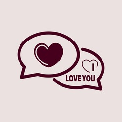 Purple Icon of I Love you Comments. Eps-10.