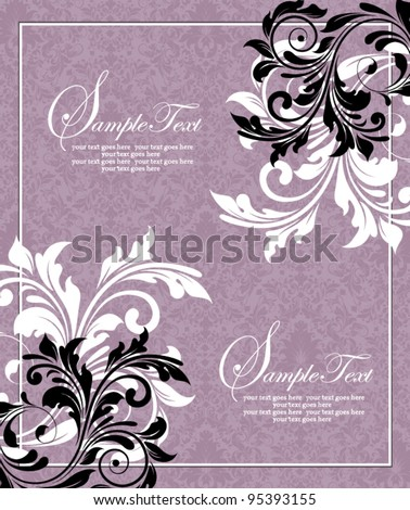 purple invitation card,vector design