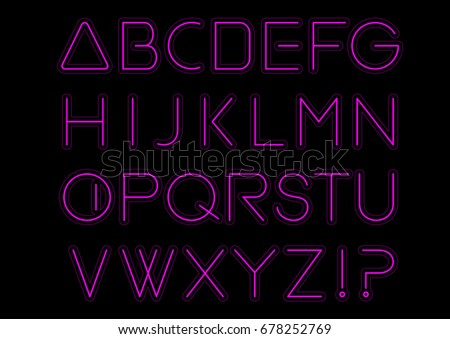 Purple light alphabet font. Neon Letters. Bright typeset sign. Typography text for decoration and advertising. Vector illustration