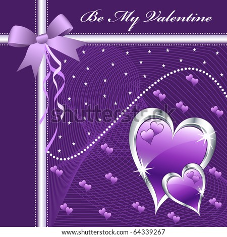 stock vector Purple love hearts and bow for valentines day or any romantic