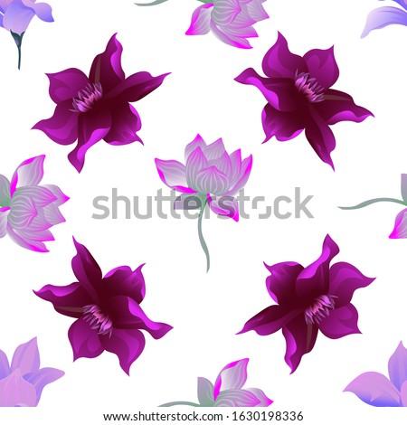 Purple Magnolia. Purple Lotus. Purple Clematis. Vector illustration. Seamless background pattern. Floral botanical flower. Wild leaf wildflower isolated. Exotic tropical hawaiian jungle. Fabric.