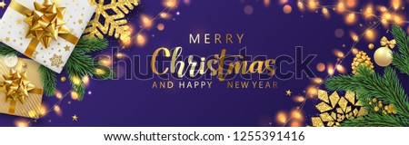 Purple Merry Christmas and Happy New Year shiny banner with top view gifts, fir branches and decorative lanterns. Vector background.  #1255391416