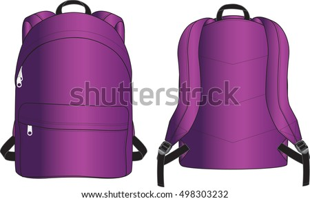Purple Metallic Backpack Illustration Isolated on a White Background