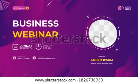 Purple modern background, Dynamic and wave shapes composition. Suitable for web banner, business webinar, seminar, Corporate Meeting, landing page, wallpaper, poster and many more