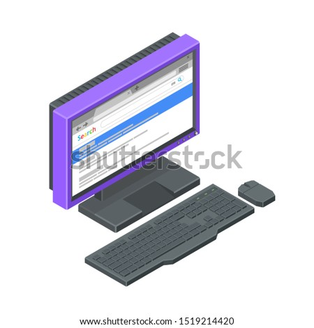 Purple monitor with browser open, with keyboard and mouse