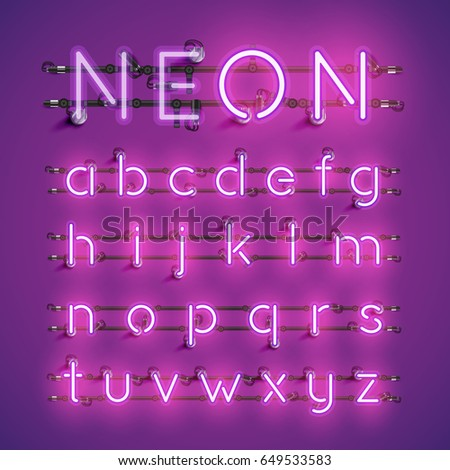 Purple neon character font set on purple background, vector illustration
