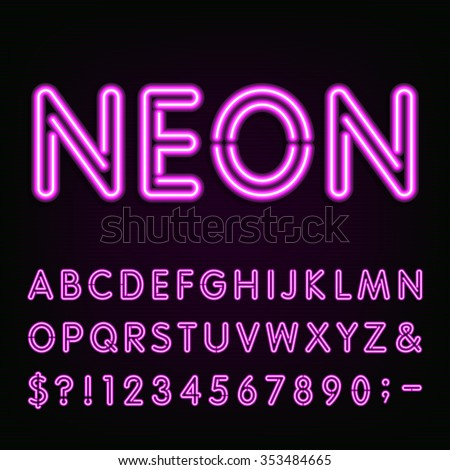 purple neon light alphabet font