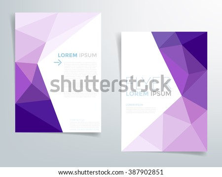 Purple polygonal brochure template flyer background design for A4 paper size with white space for text and message design