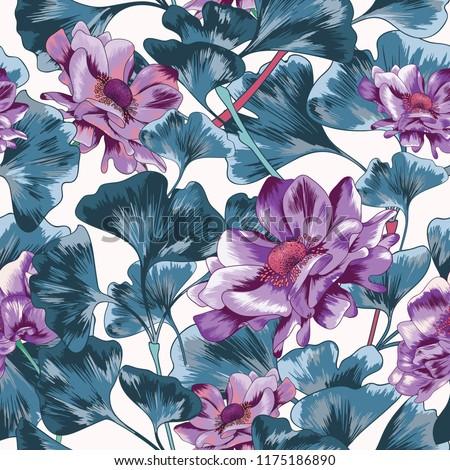 purple poppy seamless vector
