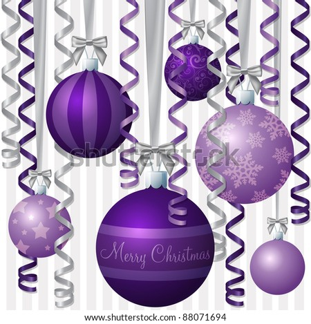stock vector Purple ribbon and bauble inspired Christmas card in vector