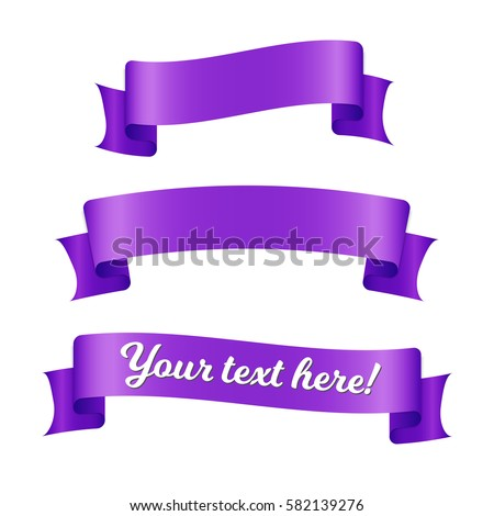 Purple ribbon banners set. Decorative elements isolated on white background.