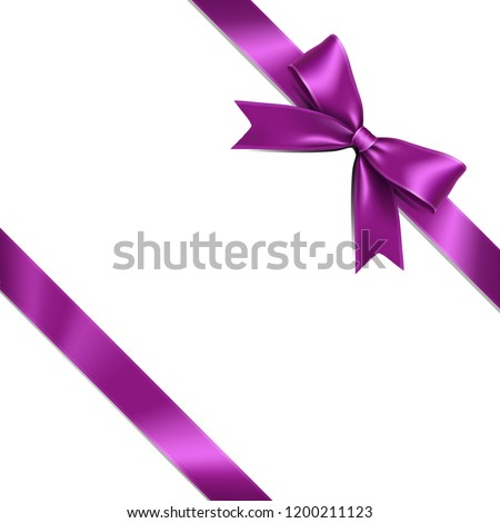 Purple ribbon bow lean isolated on white background. Vector illustration of violet  ribbon bow. Greeting gift bow concept.