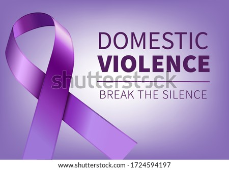 Purple ribbon - symbol of domestic violence, Speak out and break the silence.