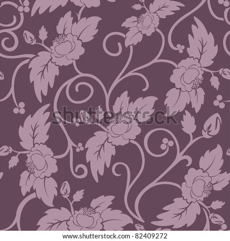 purple seamless background with curly pink flowers